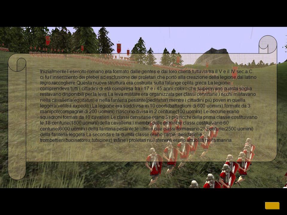 Inizialmente lesercito romano era formato dalle gentes e dai loro clienti,tuttavia tra il V e il IV sec.a.C.