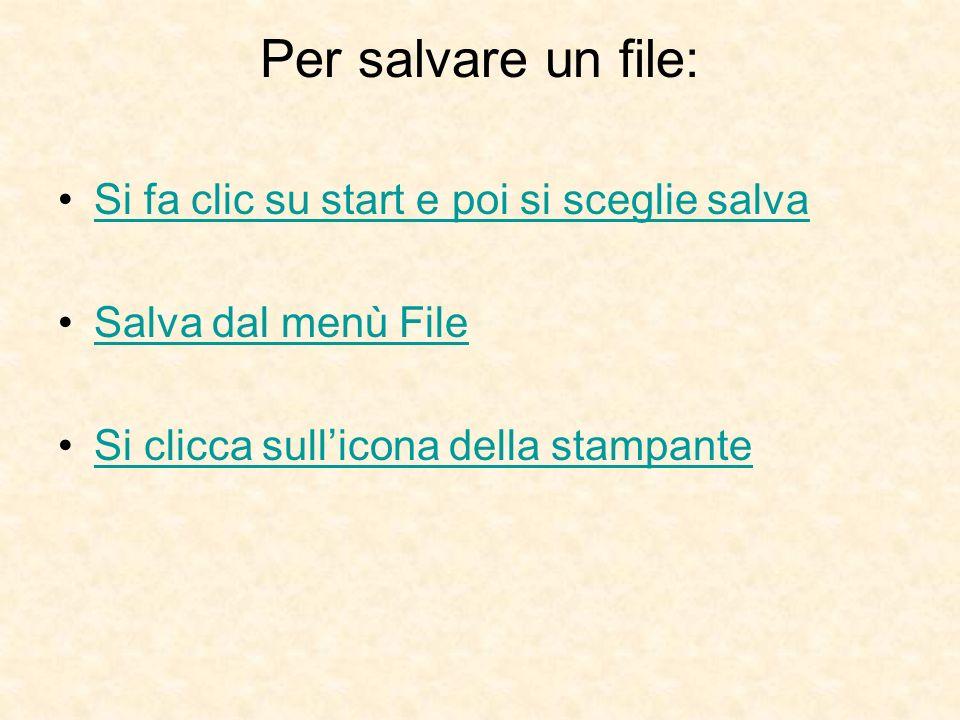 Per salvare un file: Si fa clic su start e poi si sceglie salva Salva dal menù File Si clicca sullicona della stampante