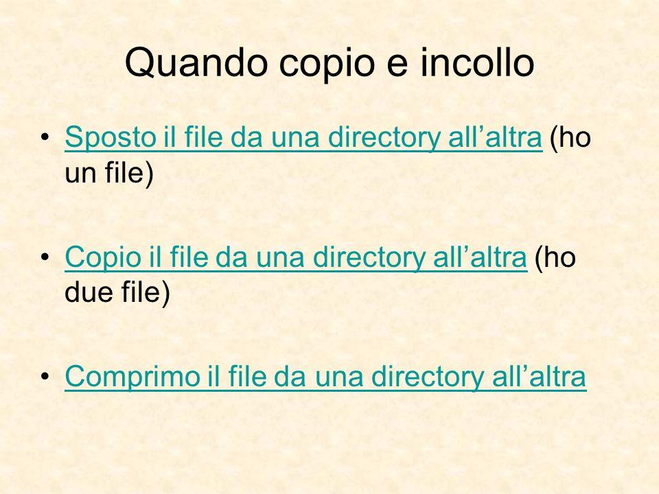 Quando copio e incollo Sposto il file da una directory allaltra (ho un file)Sposto il file da una directory allaltra Copio il file da una directory allaltra (ho due file)Copio il file da una directory allaltra Comprimo il file da una directory allaltra