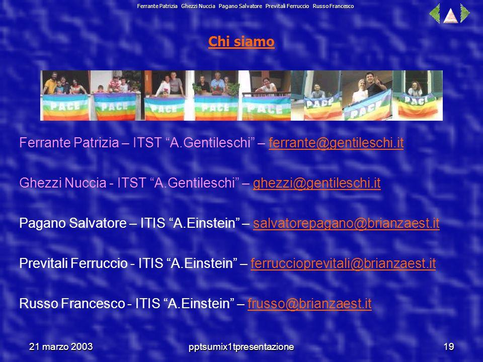 21 marzo 2003pptsumix1tpresentazione18 Ferrante Patrizia Ghezzi Nuccia Pagano Salvatore Previtali Ferruccio Russo Francesco