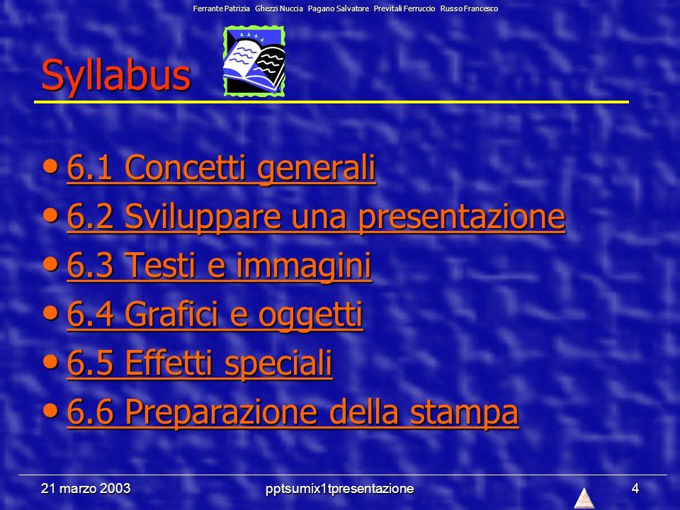 21 marzo 2003pptsumix1tpresentazione4 Syllabus 6.1 Concetti generali 6.1 Concetti generali 6.1 Concetti generali 6.1 Concetti generali 6.2 Sviluppare una presentazione 6.2 Sviluppare una presentazione 6.2 Sviluppare una presentazione 6.2 Sviluppare una presentazione 6.3 Testi e immagini 6.3 Testi e immagini 6.3 Testi e immagini 6.3 Testi e immagini 6.4 Grafici e oggetti 6.4 Grafici e oggetti 6.4 Grafici e oggetti 6.4 Grafici e oggetti 6.5 Effetti speciali 6.5 Effetti speciali 6.5 Effetti speciali 6.5 Effetti speciali 6.6 Preparazione della stampa 6.6 Preparazione della stampa 6.6 Preparazione della stampa 6.6 Preparazione della stampa Ferrante Patrizia Ghezzi Nuccia Pagano Salvatore Previtali Ferruccio Russo Francesco