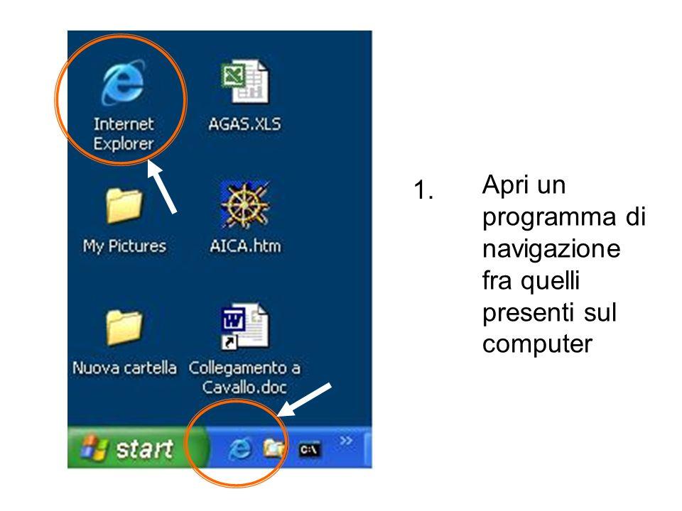 Apri un programma di navigazione fra quelli presenti sul computer 1.