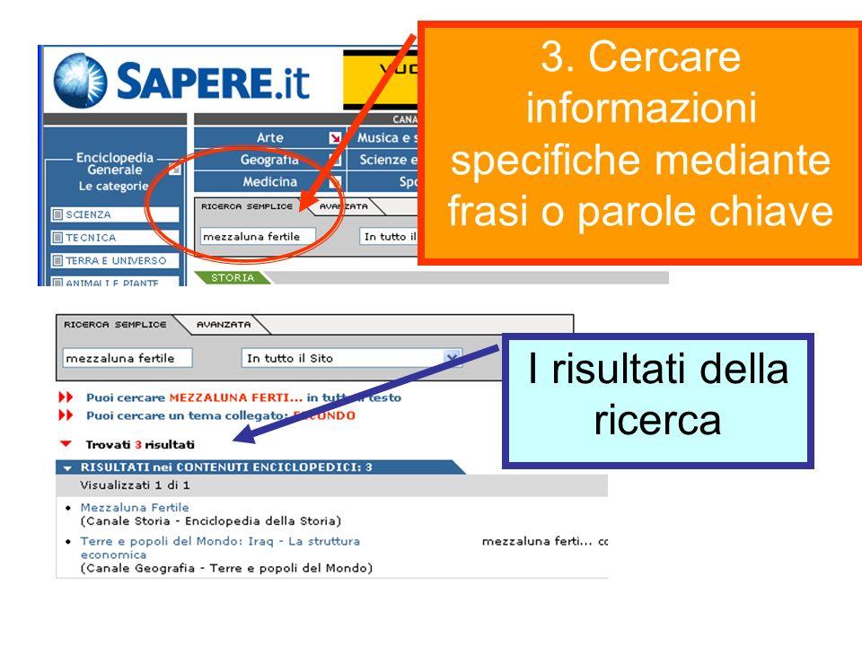 3. Cercare informazioni specifiche mediante frasi o parole chiave I risultati della ricerca
