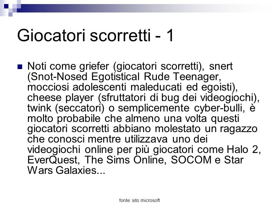 fonte: sito microsoft Giocatori scorretti - 2 I giocatori scorretti sono gli equivalenti su Internet dei prepotenti nei parchi giochi, che trovano divertente importunare e prevaricare gli altri.