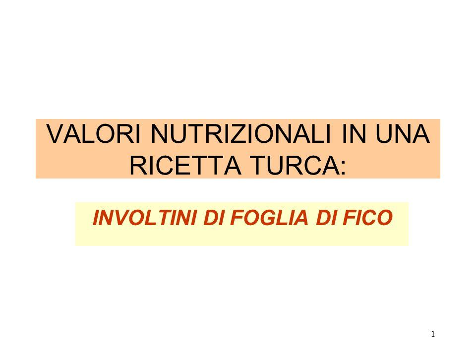 1 VALORI NUTRIZIONALI IN UNA RICETTA TURCA: INVOLTINI DI FOGLIA DI FICO