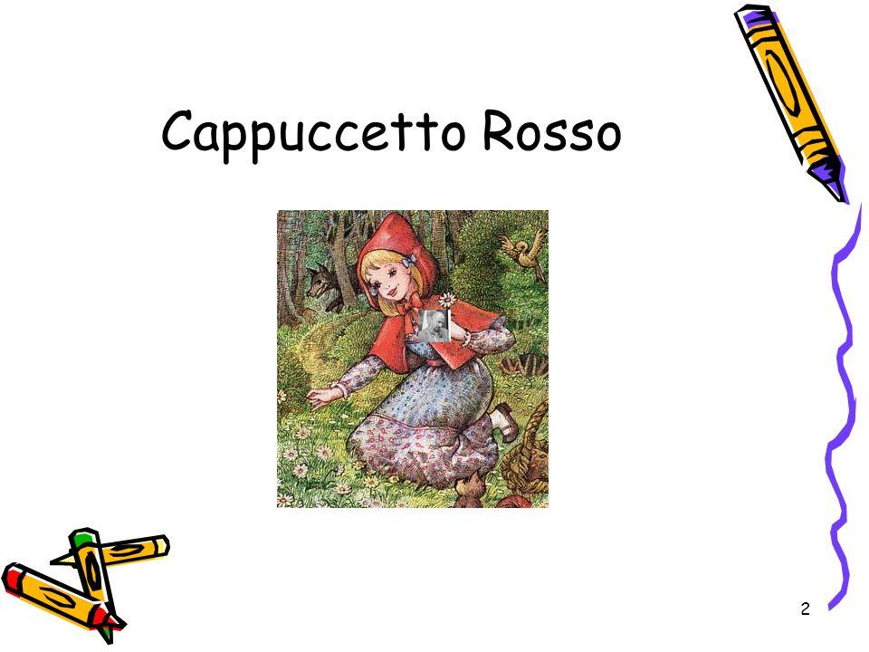 3 I personaggi della fiaba Capuccetto Rosso MammaLupoNonnaCacciatore