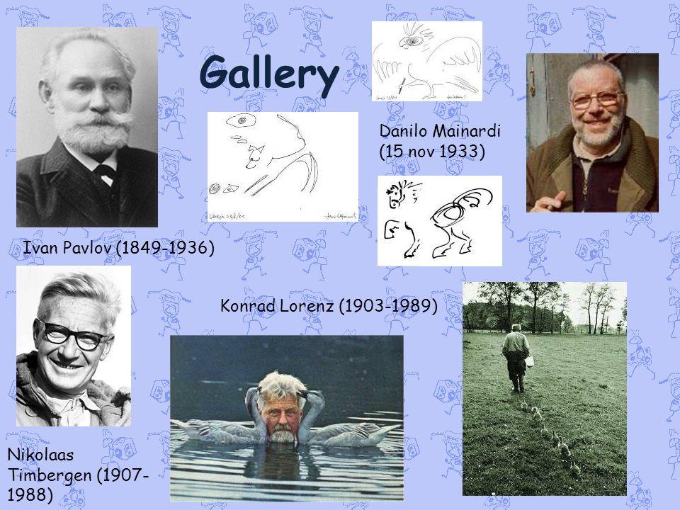 Gallery Ivan Pavlov (1849-1936) Konrad Lorenz (1903-1989) Nikolaas Timbergen (1907- 1988) Danilo Mainardi (15 nov 1933)