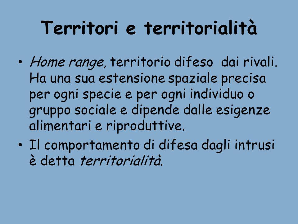 Territori e territorialità Home range, territorio difeso dai rivali. Ha una sua estensione spaziale precisa per ogni specie e per ogni individuo o gru