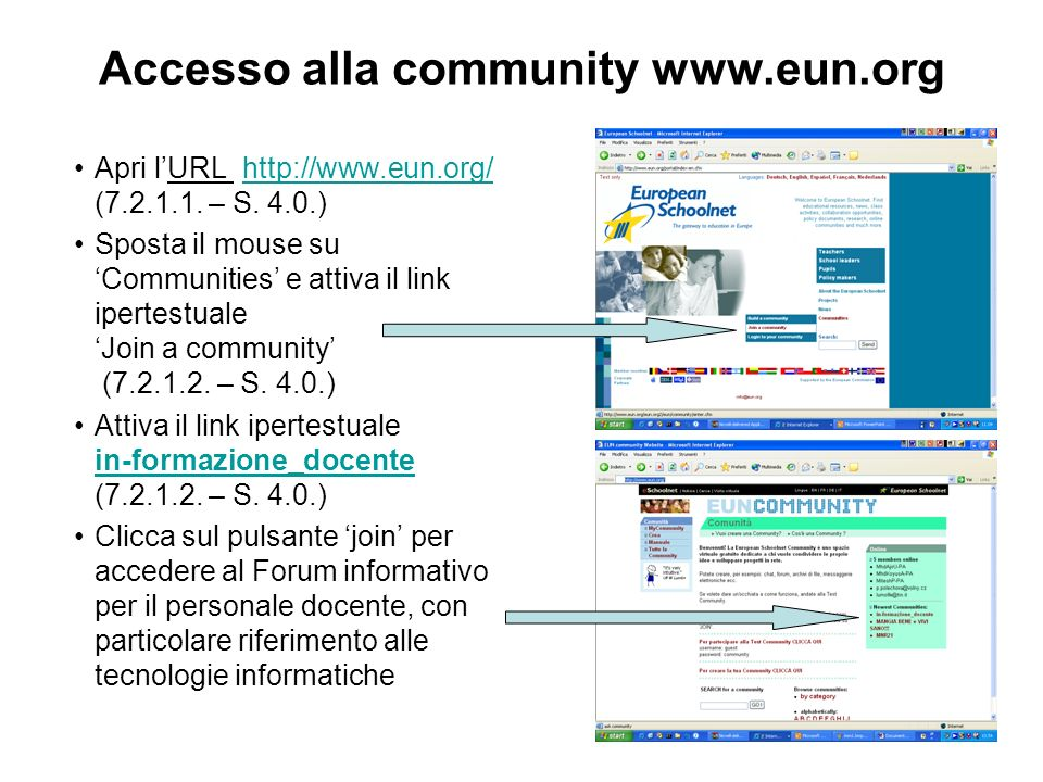 Accesso alla community www.eun.org Apri lURL http://www.eun.org/ (7.2.1.1. – S. 4.0.)http://www.eun.org/ Sposta il mouse su Communities e attiva il li