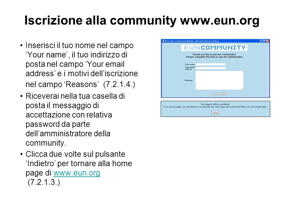 Assegnazione di un segnalibro a www.eun.org Clicca su Preferiti dalla Barra dei comandi e scegli Aggiungi a Preferiti… (7.2.2.1.) e clicca su Ok Opzioni attivabili: 1.Disponibile in modalità non in linea 2.Nome (puoi cambiare il nome del segnalibro scrivendo allinterno della casella di testo) 3.Crea in>> (puoi selezionare con il mouse la cartella ove salvare il segnalibro scegliendola tra quelle presenti oppure creandone una nuova cliccando sul pulsante Nuova cartella…