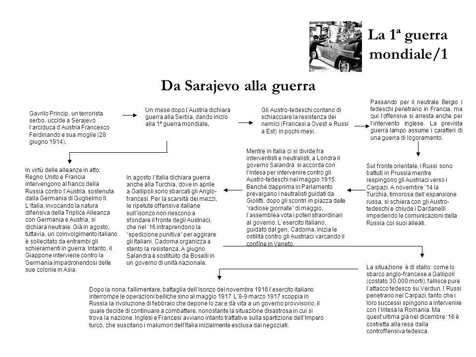 La 1ª guerra mondiale/1 Da Sarajevo alla guerra Gavrilo Princip, un terrorista serbo, uccide a Serajevo larciduca dAustria Francesco Ferdinando e sua