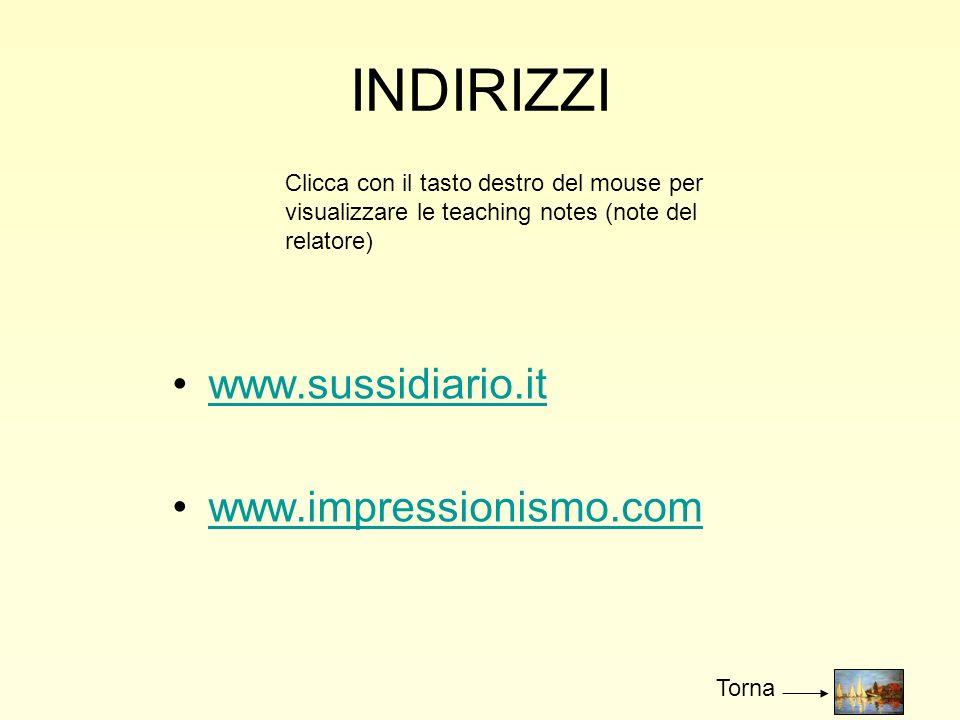 INDIRIZZI www.sussidiario.it www.impressionismo.com Clicca con il tasto destro del mouse per visualizzare le teaching notes (note del relatore) Torna