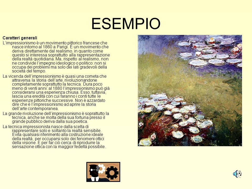 ESEMPIO Caratteri generali Limpressionismo è un movimento pittorico francese che nasce intorno al 1860 a Parigi. È un movimento che deriva direttament