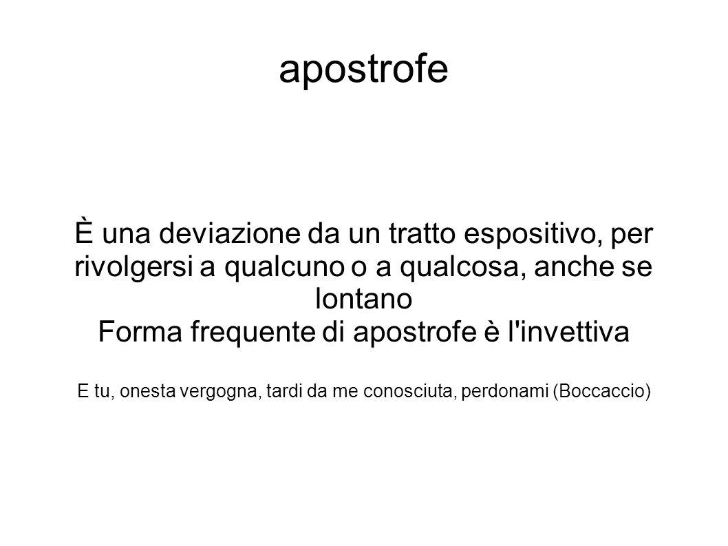 apostrofe È una deviazione da un tratto espositivo, per rivolgersi a qualcuno o a qualcosa, anche se lontano Forma frequente di apostrofe è l'invettiv