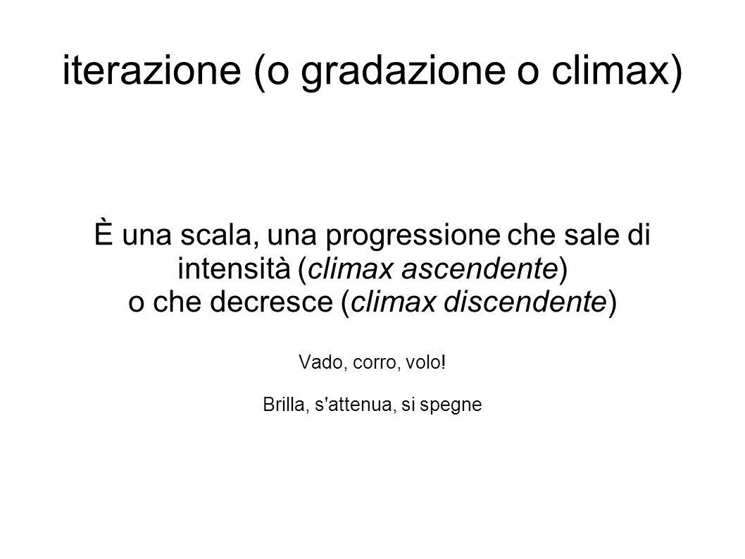 iterazione (o gradazione o climax) È una scala, una progressione che sale di intensità (climax ascendente) o che decresce (climax discendente) Vado, c