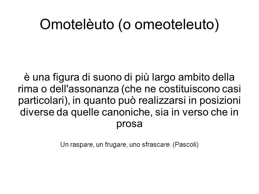 Omotelèuto (o omeoteleuto) è una figura di suono di più largo ambito della rima o dell'assonanza (che ne costituiscono casi particolari), in quanto pu
