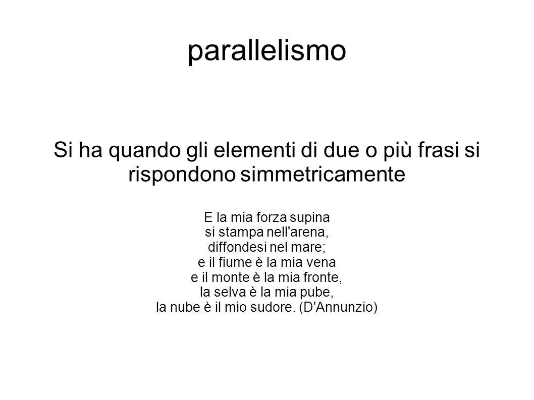 parallelismo Si ha quando gli elementi di due o più frasi si rispondono simmetricamente E la mia forza supina si stampa nell'arena, diffondesi nel mar