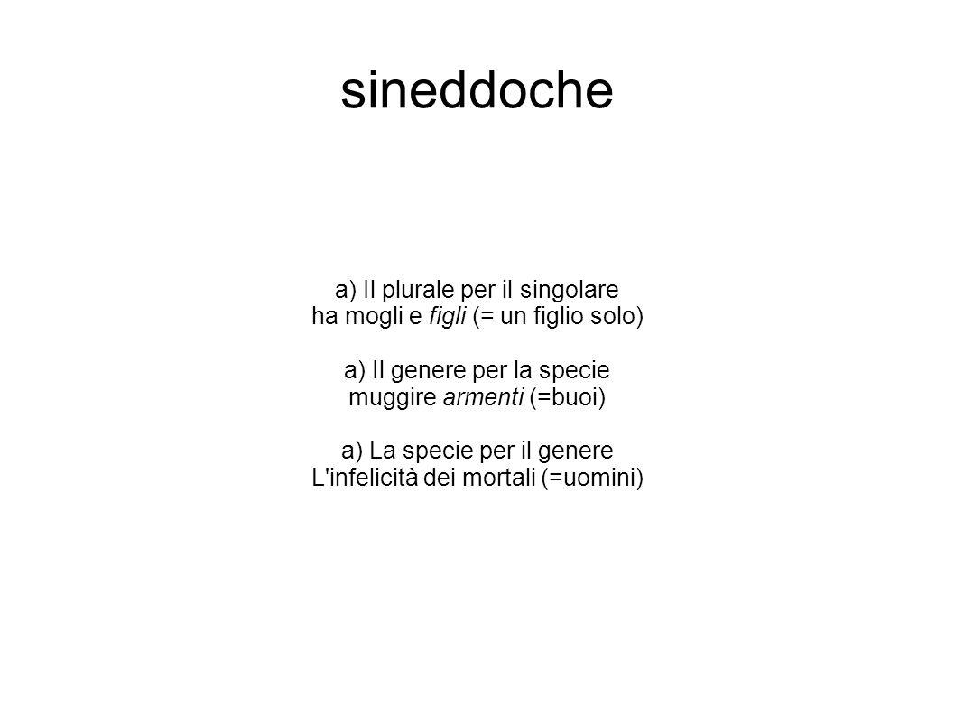 sineddoche a) Il plurale per il singolare ha mogli e figli (= un figlio solo) a) Il genere per la specie muggire armenti (=buoi) a) La specie per il g