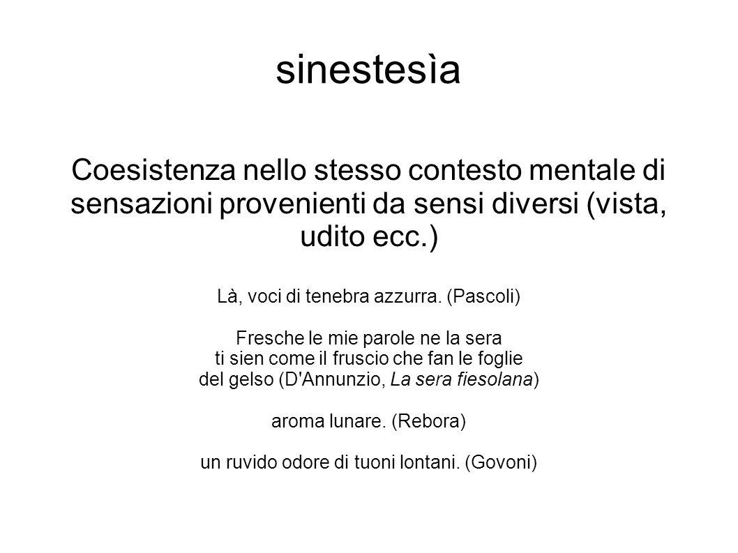 sinestesìa Coesistenza nello stesso contesto mentale di sensazioni provenienti da sensi diversi (vista, udito ecc.) Là, voci di tenebra azzurra. (Pasc