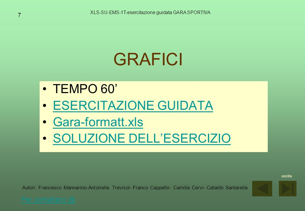 7 GRAFICI XLS-SU-EMS-1T-esercitazione guidata GARA SPORTIVA TEMPO 60 ESERCITAZIONE GUIDATA Gara-formatt.xls SOLUZIONE DELLESERCIZIO uscita Autori: Fra
