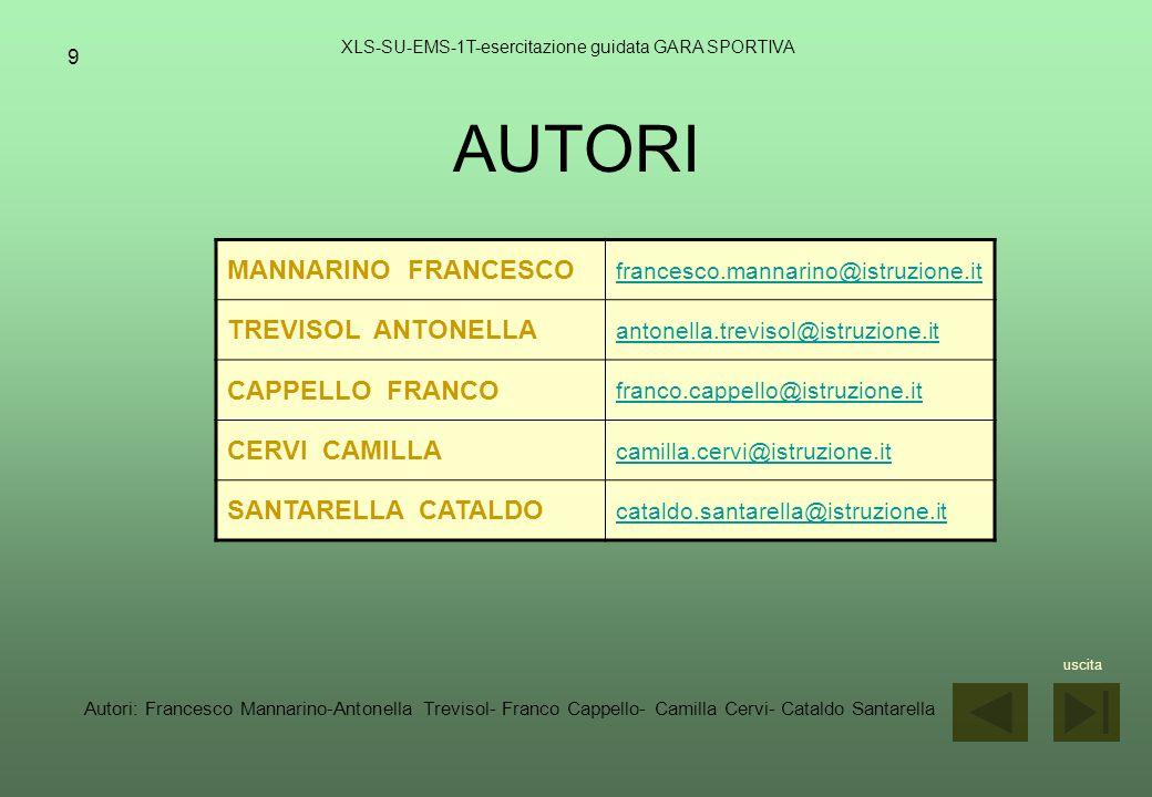 9 AUTORI XLS-SU-EMS-1T-esercitazione guidata GARA SPORTIVA MANNARINO FRANCESCO francesco.mannarino@istruzione.it TREVISOL ANTONELLA antonella.trevisol