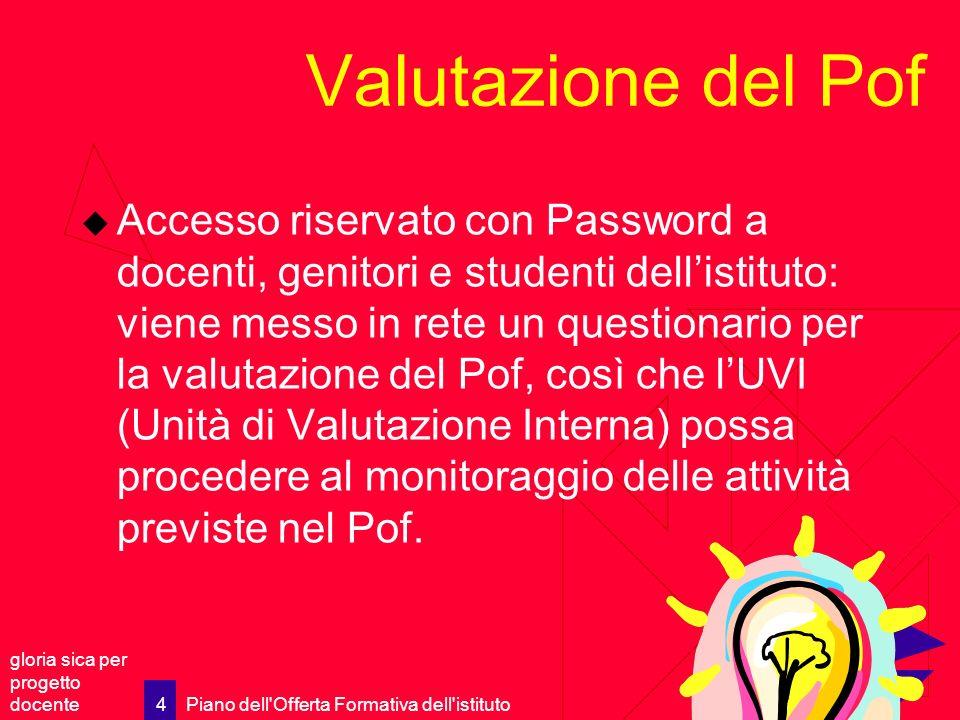 gloria sica per progetto docente Piano dell'Offerta Formativa dell'istituto 4 Valutazione del Pof Accesso riservato con Password a docenti, genitori e