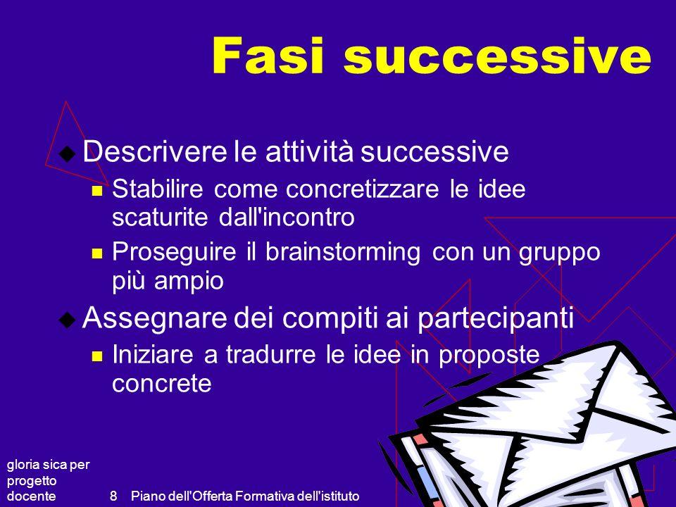 gloria sica per progetto docente Piano dell'Offerta Formativa dell'istituto 8 Fasi successive Descrivere le attività successive Stabilire come concret