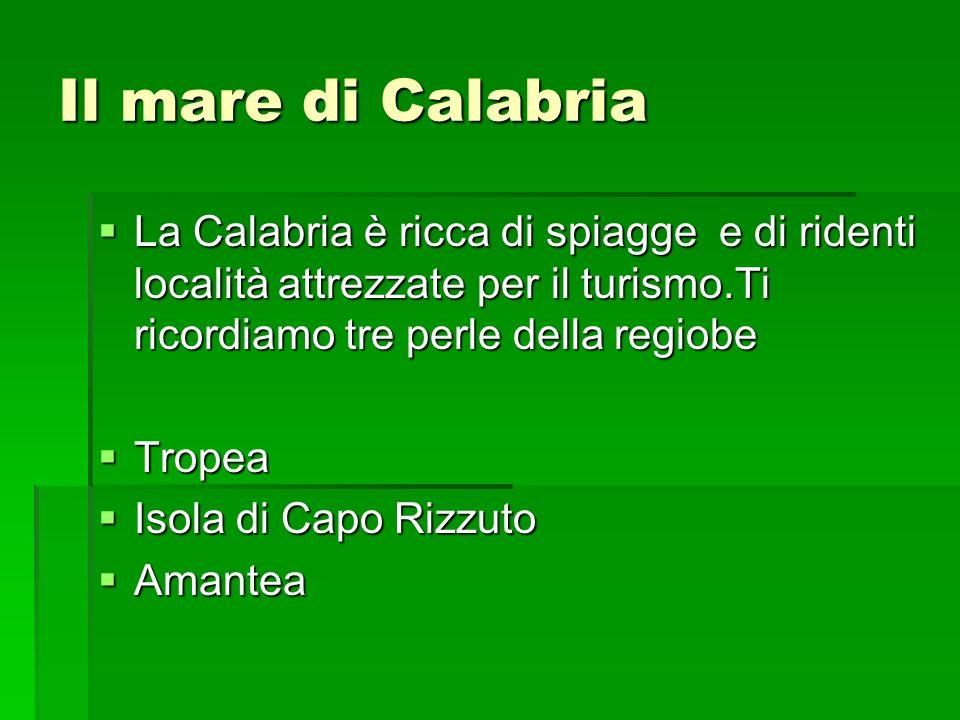 Il mare di Calabria La Calabria è ricca di spiagge e di ridenti località attrezzate per il turismo.Ti ricordiamo tre perle della regiobe La Calabria è