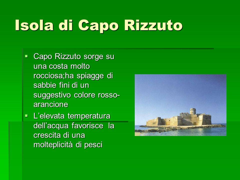 Isola di Capo Rizzuto Capo Rizzuto sorge su una costa molto rocciosa;ha spiagge di sabbie fini di un suggestivo colore rosso- arancione Capo Rizzuto s