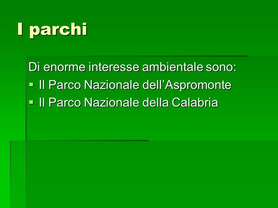 I parchi Di enorme interesse ambientale sono: Il Parco Nazionale dellAspromonte Il Parco Nazionale dellAspromonte Il Parco Nazionale della Calabria Il