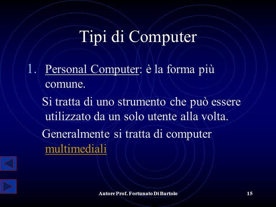 Autore Prof.Fortunato Di Bartolo15 Tipi di Computer 1.