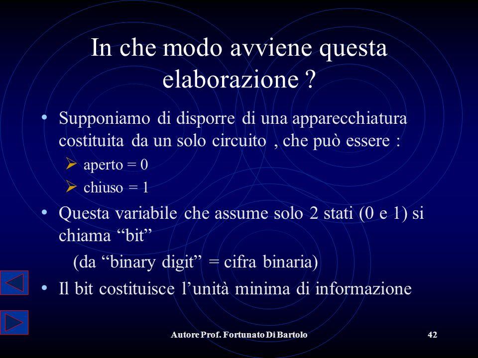 Autore Prof.Fortunato Di Bartolo42 In che modo avviene questa elaborazione .