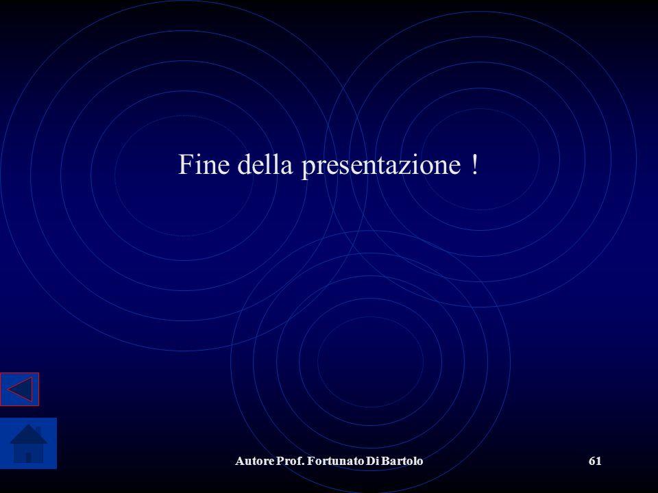 Autore Prof. Fortunato Di Bartolo61 Fine della presentazione !