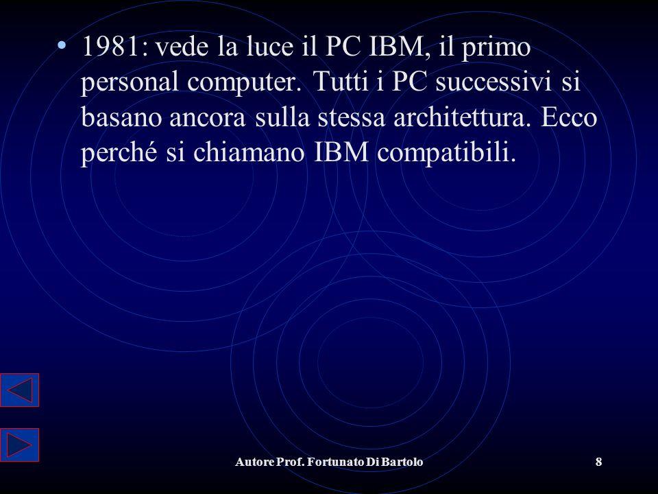 Autore Prof.Fortunato Di Bartolo8 1981: vede la luce il PC IBM, il primo personal computer.