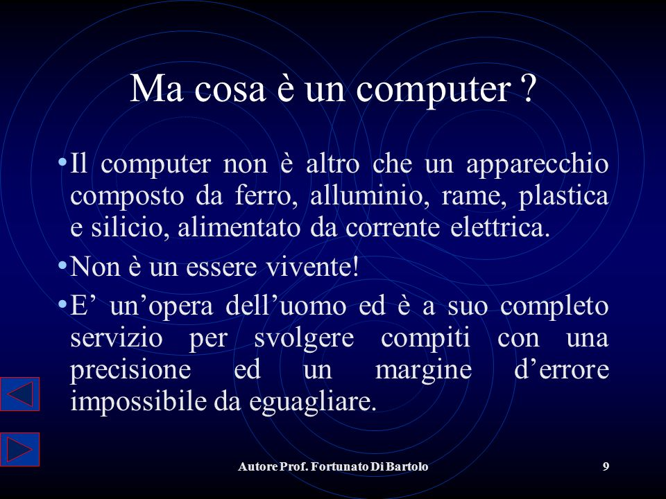 Autore Prof.Fortunato Di Bartolo10 Il computer non sbaglia mai .