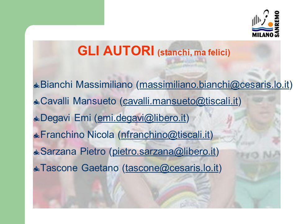 GLI AUTORI (stanchi, ma felici) Bianchi Massimiliano (massimiliano.bianchi@cesaris.lo.it)massimiliano.bianchi@cesaris.lo.it Cavalli Mansueto (cavalli.