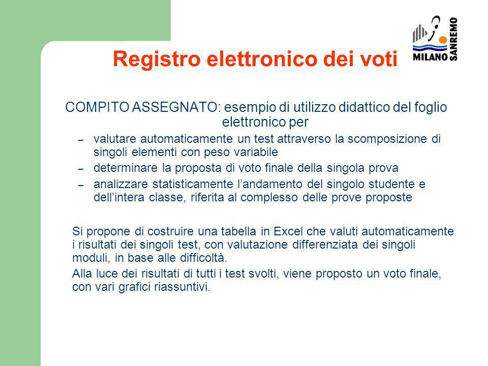 Registro elettronico dei voti COMPITO ASSEGNATO: esempio di utilizzo didattico del foglio elettronico per – valutare automaticamente un test attravers