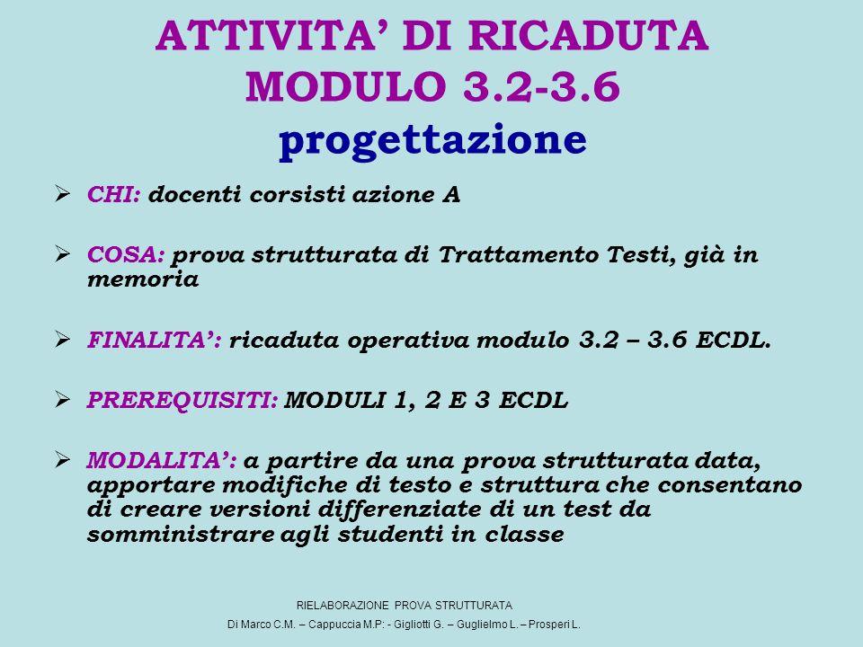 ATTIVITA DI RICADUTA MODULO 3.2-3.6 progettazione CHI: docenti corsisti azione A COSA: prova strutturata di Trattamento Testi, già in memoria FINALITA: ricaduta operativa modulo 3.2 – 3.6 ECDL.