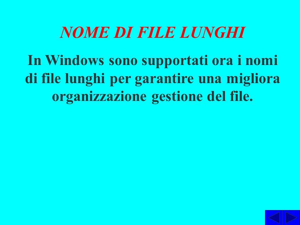 NOME DI FILE LUNGHI In Windows sono supportati ora i nomi di file lunghi per garantire una migliora organizzazione gestione del file.