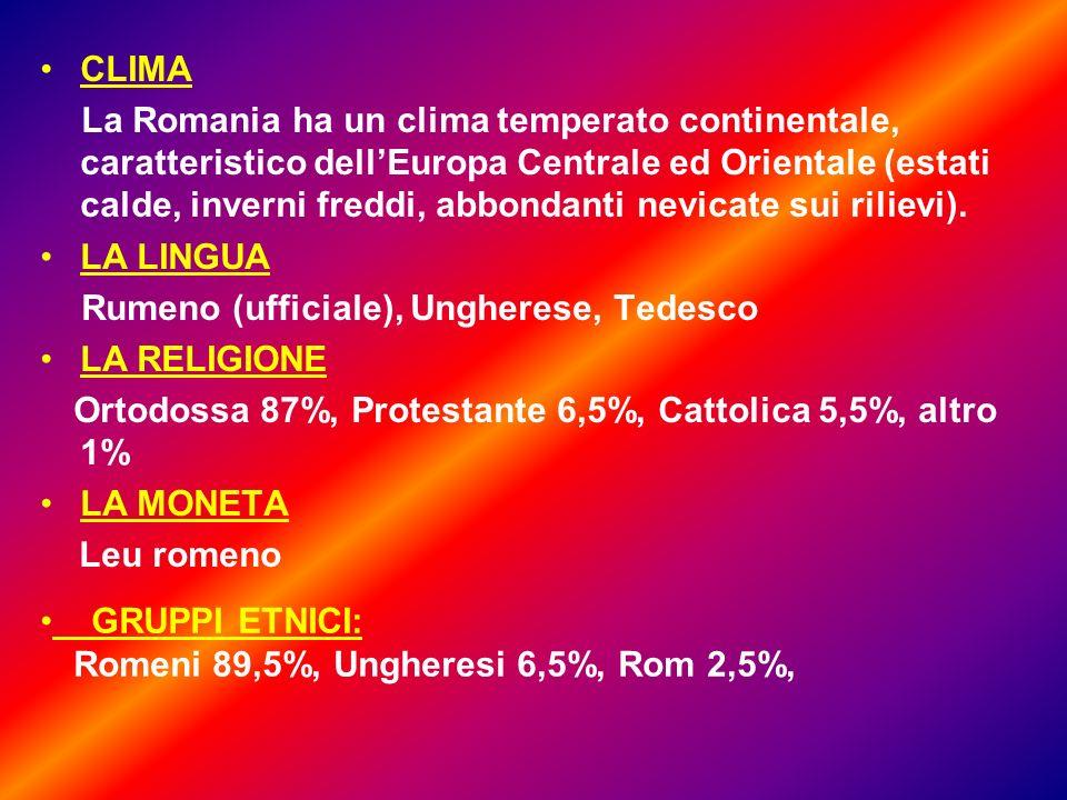 CLIMA La Romania ha un clima temperato continentale, caratteristico dellEuropa Centrale ed Orientale (estati calde, inverni freddi, abbondanti nevicate sui rilievi).