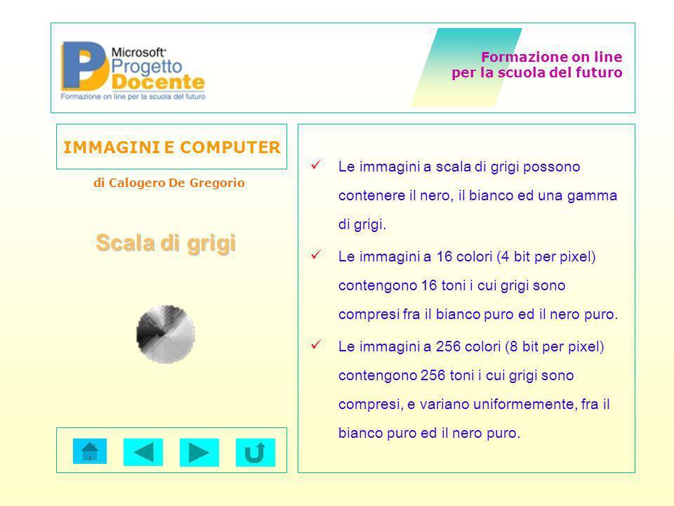 Formazione on line per la scuola del futuro IMMAGINI E COMPUTER di Calogero De Gregorio Le immagini a scala di grigi possono contenere il nero, il bia
