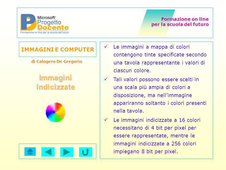 Formazione on line per la scuola del futuro IMMAGINI E COMPUTER di Calogero De Gregorio Le immagini a mappa di colori contengono tinte specificate sec