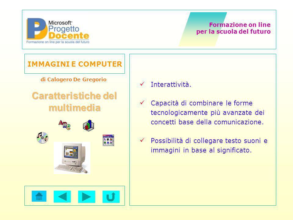 Formazione on line per la scuola del futuro IMMAGINI E COMPUTER di Calogero De Gregorio Il processo di acquisizione Rilevatore Campionatore Memoria Immagine Segnale Analogico Quantizzatore Segnale discreto