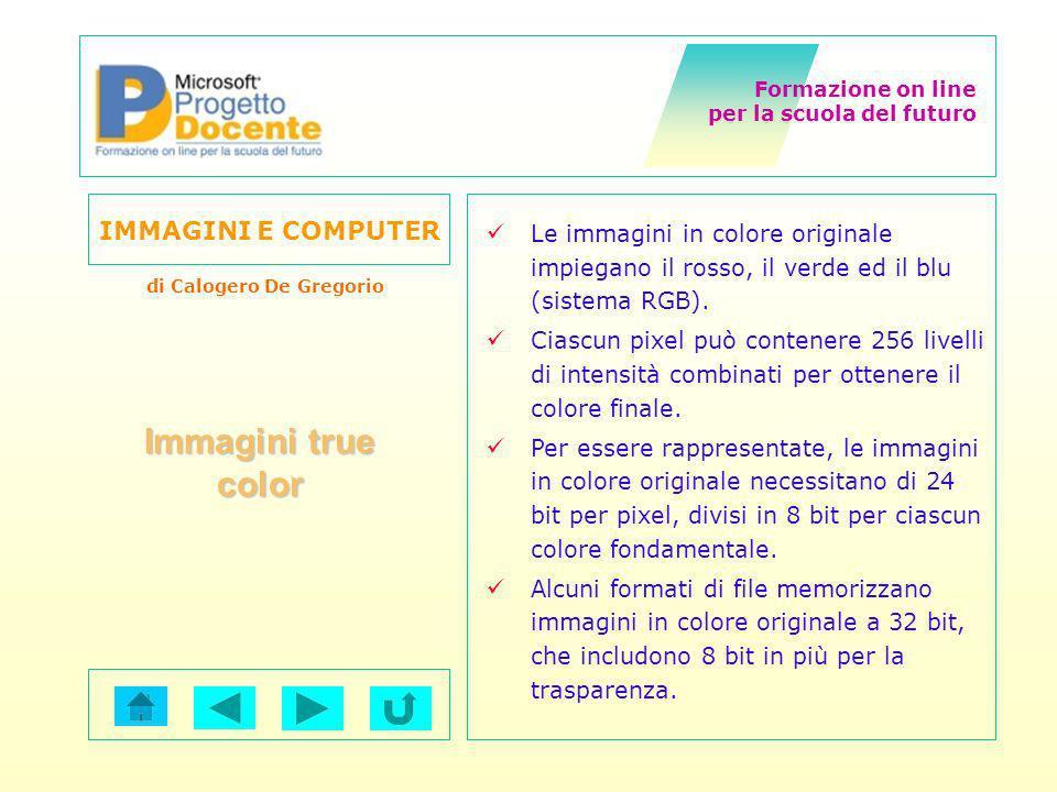 Formazione on line per la scuola del futuro IMMAGINI E COMPUTER di Calogero De Gregorio Le immagini in colore originale impiegano il rosso, il verde e