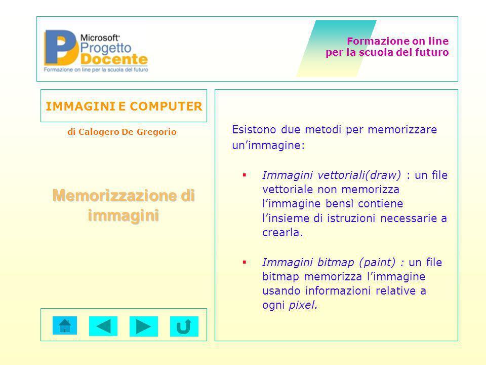 Formazione on line per la scuola del futuro IMMAGINI E COMPUTER di Calogero De Gregorio Esistono due metodi per memorizzare unimmagine: Immagini vetto