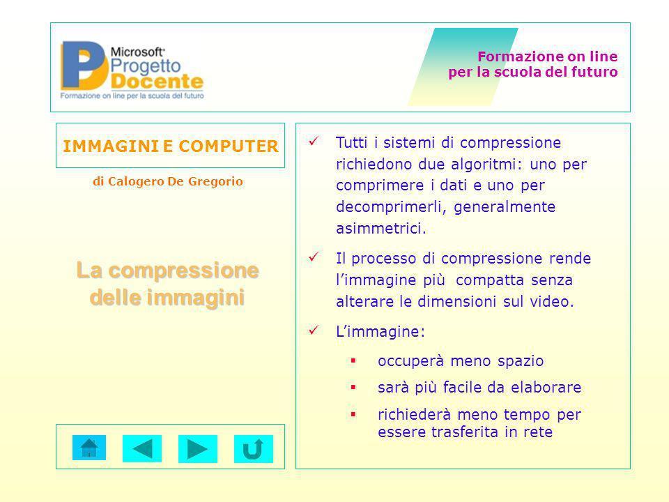 Formazione on line per la scuola del futuro IMMAGINI E COMPUTER di Calogero De Gregorio La compressione delle immagini Tutti i sistemi di compressione