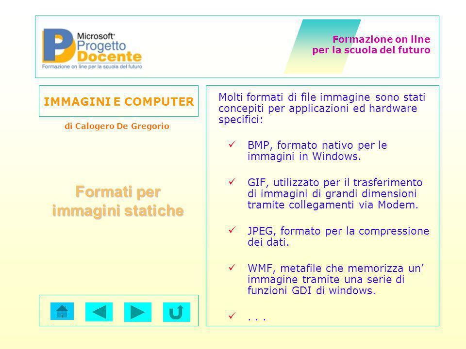 Formazione on line per la scuola del futuro IMMAGINI E COMPUTER di Calogero De Gregorio Formati per immagini statiche Molti formati di file immagine s