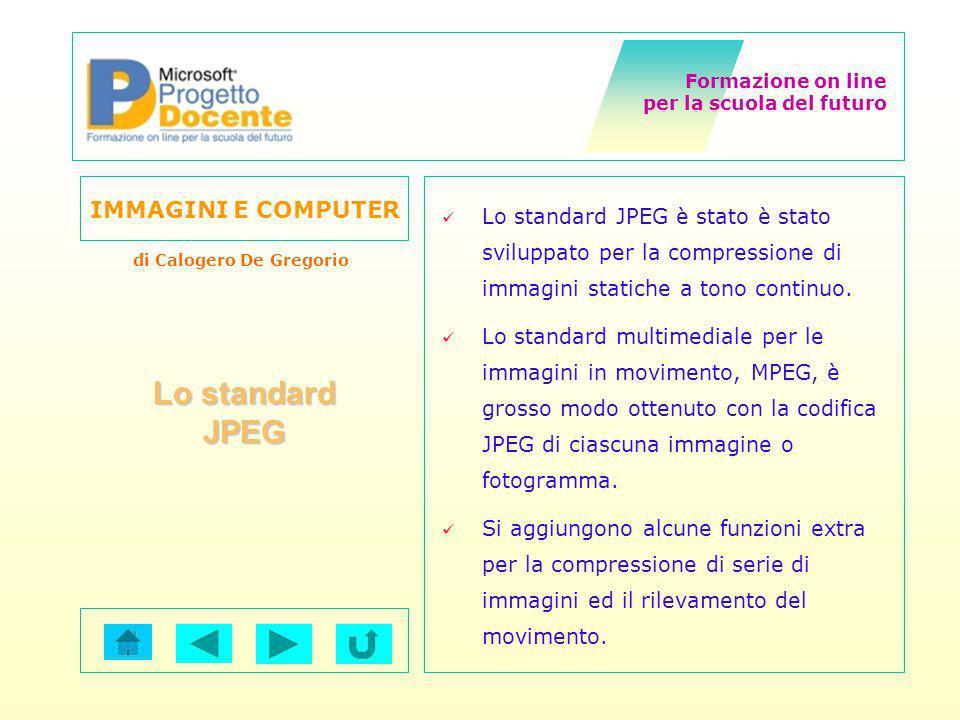 Formazione on line per la scuola del futuro IMMAGINI E COMPUTER di Calogero De Gregorio Lo standard JPEG è stato è stato sviluppato per la compression