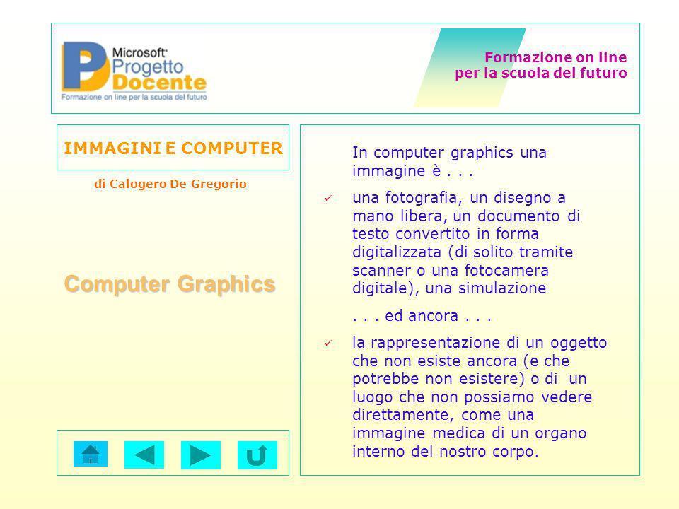 Formazione on line per la scuola del futuro IMMAGINI E COMPUTER di Calogero De Gregorio Computer Graphics In computer graphics una immagine è... una f