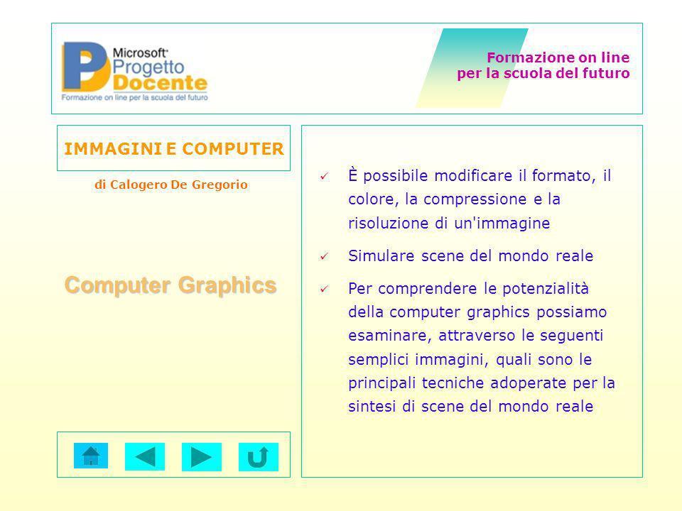 Formazione on line per la scuola del futuro IMMAGINI E COMPUTER di Calogero De Gregorio Computer Graphics È possibile modificare il formato, il colore